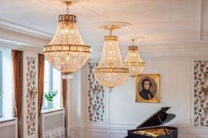 Swarovski Chandeliers hanging in Fryderyk concert Hall